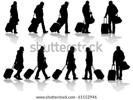 drawing travelers with suitcases. Silhouettes on white background
