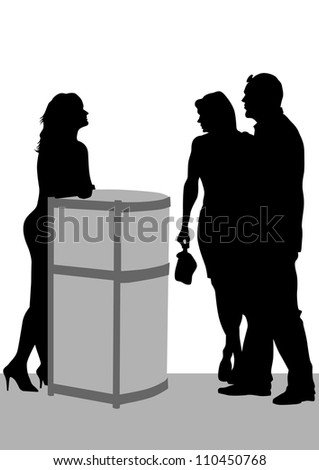 drawing visitors and employees at reception - stock photo