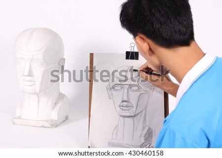 Drawing with pencil - stock photo