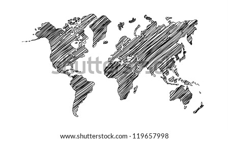drawing world map on white background - stock photo