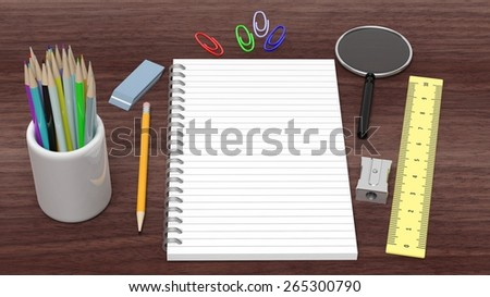 Drawing/writing tools and blank notepad, on wooden desk - stock photo