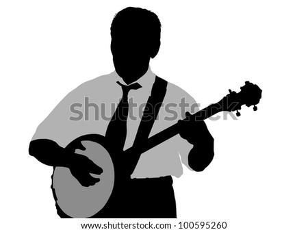 drawing young man whit banjo - stock photo