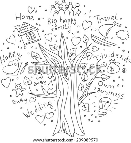 Drawing your tree of life dreams and targets. Black and white doodles illustration. - stock photo