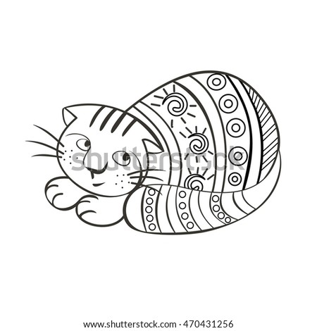 Drawing Zentangle Cat For Coloring