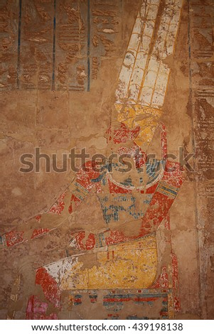 drawings in the Egyptian temple, Karnak - stock photo
