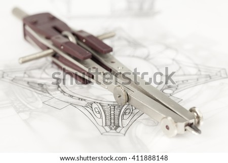 drawings of architectural details - columns element,  & compass - stock photo