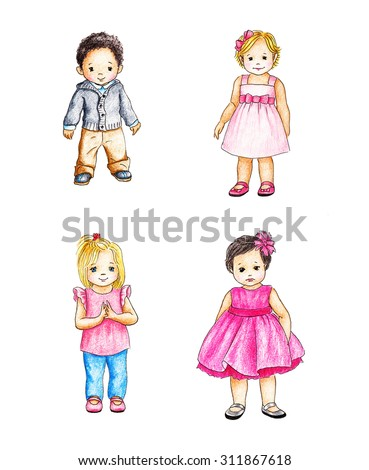 drawings of four cute kids - stock photo