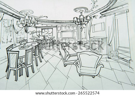 Drawings of interiors, sketches, pencil sketches