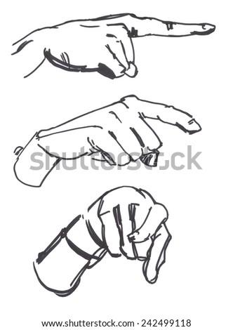 Drawings of pointing hands