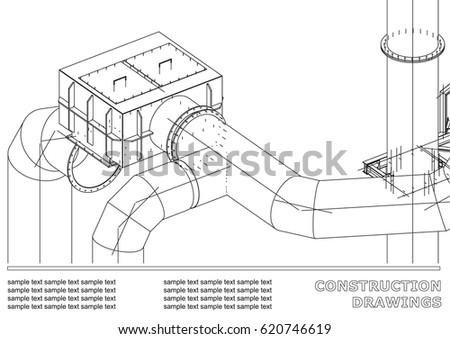Drawings steel structures pipes 3 d blueprint stock illustration drawings of steel structures pipes 3d blueprint of steel structures cover background malvernweather Choice Image