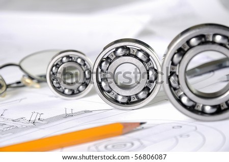 Drawings of the engineer of mechanical engineering. - stock photo