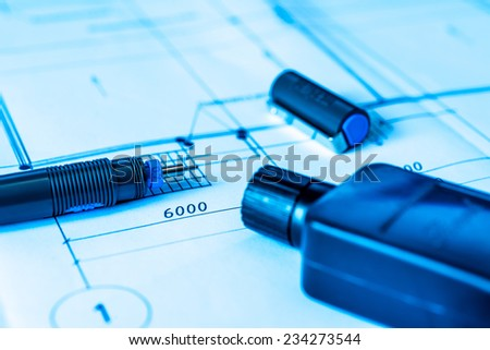 Drawings with a pen for draw and ink. In blue tone - stock photo