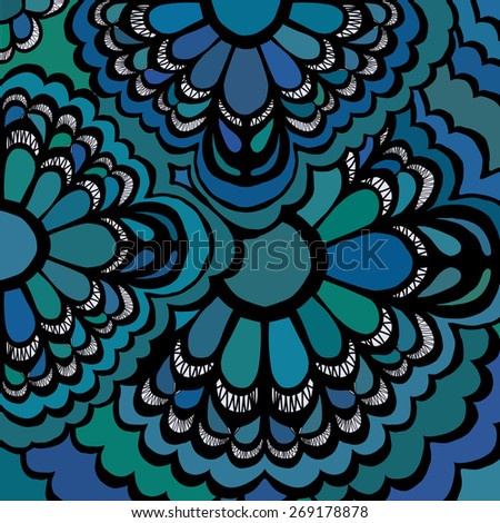 drawn by hand  abstract background blue green color - raster copy illustration - stock photo