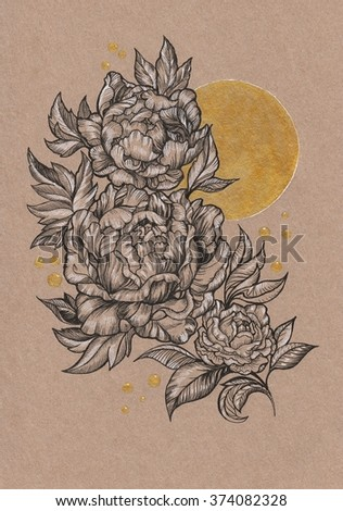 Drawn by hand card, peony flower and sun on kraft paper - stock photo