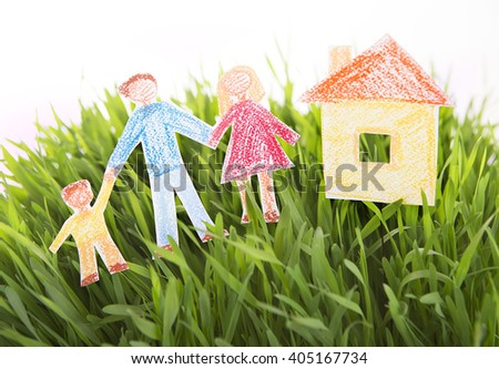Drawn Family and House on Grass green background. Real estate in ecological area. Social concept. Lending for ecohouse construction. Green Buildings, Nanotechnology in Construction  - stock photo