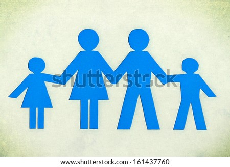 Drawn family of blue isolated on a white background. - stock photo
