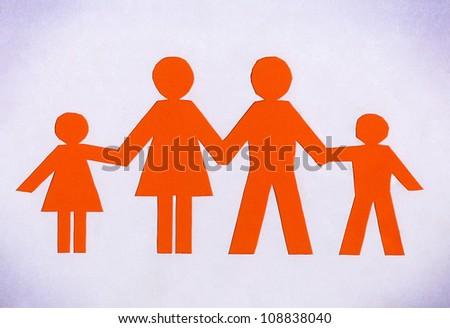 Drawn family orange isolated on a white background. - stock photo