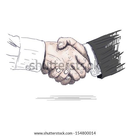 Drawn handshake - stock photo