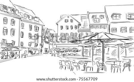 drawn illustration  to the old town