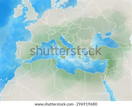 Drawn map showing Europe, Mediterranean, Africa, Middle East - stock photo