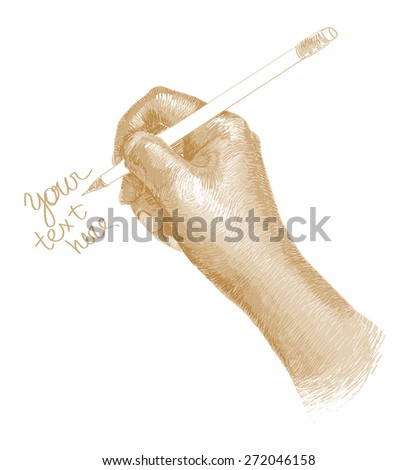 drawn touches the hand writing text gold tone - stock photo