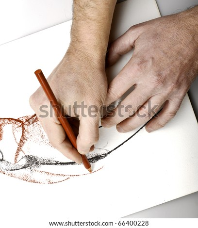 Drawning hands - stock photo
