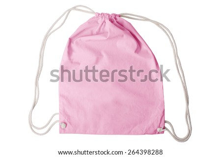 Drawstring pack template isolated on white with clipping path - stock photo