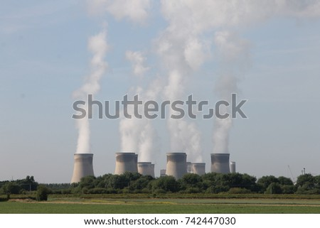 Drax power station, East Yorkshire England, which uses bio-mass fuel to produce electricity