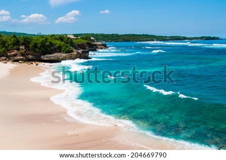 Dream beach at sunny day. Lembongan island, Bali, Indonesia  - stock photo