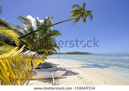 Dream beach in Papetoai, Moorea, French Polynesia - stock photo