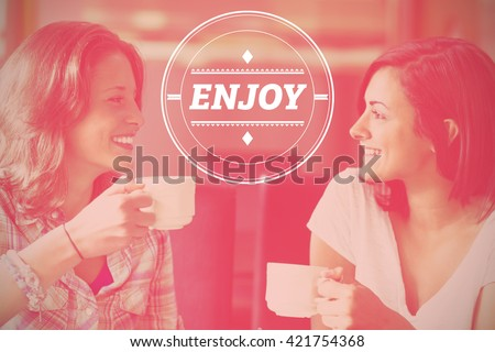 dream big against two smiling students having a cup of coffee - stock photo