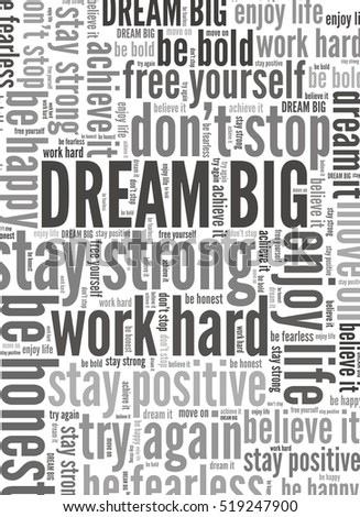 Dream Big and other positive words