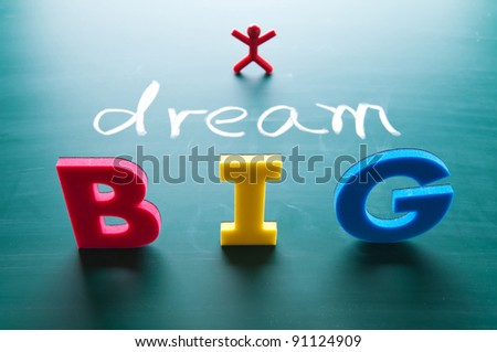 dream big words on blackboard with colorful alphabets. - stock photo