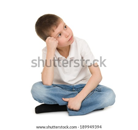 dream boy isolated on white - stock photo
