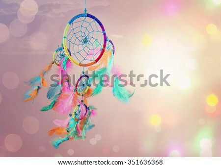 Dream catcher and abstract bokeh background - stock photo
