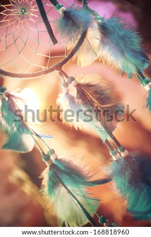 dream catcher on a magical forest - stock photo