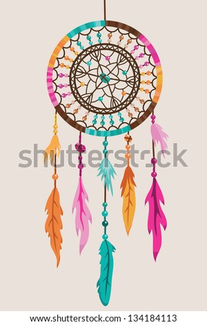 Dream Catcher with pink, orange and blue feathers
