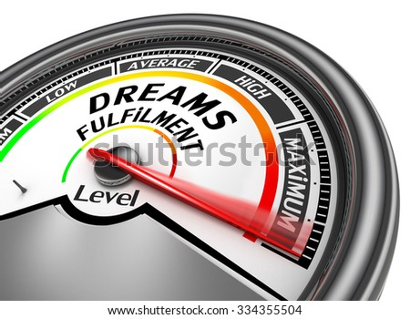 Dream fulfilment level to maximum modern conceptual meter, isolated on white background - stock photo