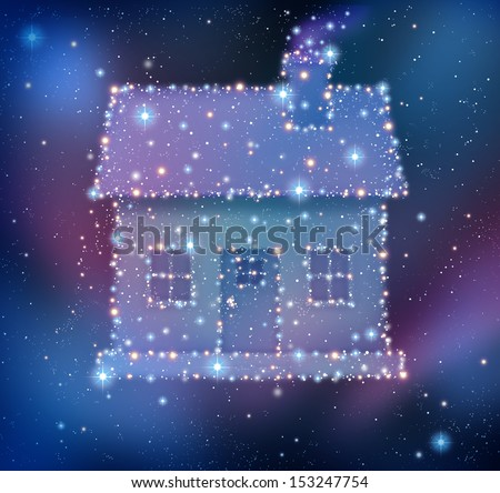 Dream home or dreaming of a family first house as bright stars and planets on a night sky constellation shaped as a residential structure as a real estate concept of a new mortgage loan. - stock photo