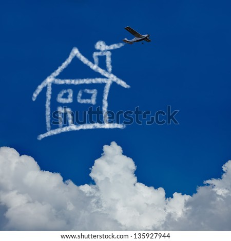 Dream house made of clouds in the sky by a skywriter - stock photo