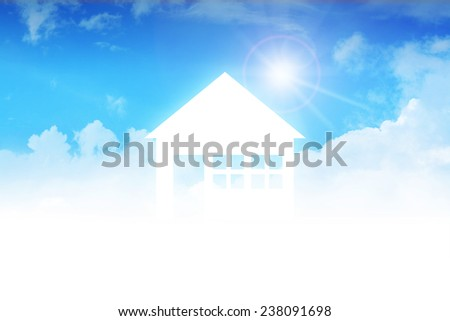 Dream house on clouds, concept design for real estate  - stock photo
