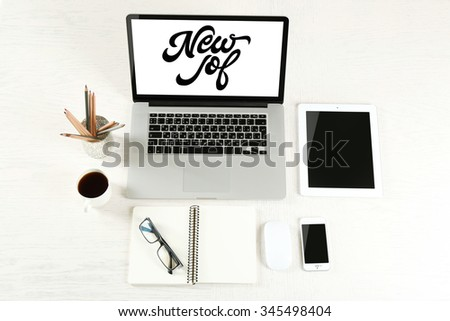 Dream job concept. Laptop with tablet and smart phone on workplace - stock photo