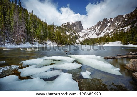 Dream Lake at the Rocky Mountain National Park, Colorado, USA - stock photo