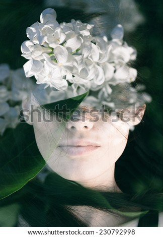 Dream like double exposure portrait of young woman combined with photograph of white lilac flowers - stock photo
