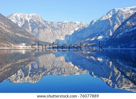 Dream-like Hallstatt lake at Australia, Europe - stock photo