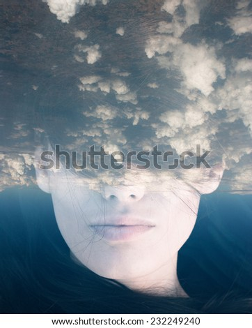 Dream like surreal double exposure portrait of attractive lady combined with aerial view photograph - stock photo