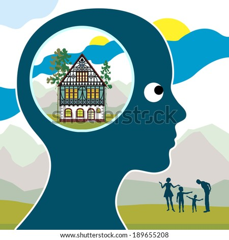 Dream of Happy Home. Woman is visualizing her future with family and home of her own somewhere in the nature - stock photo