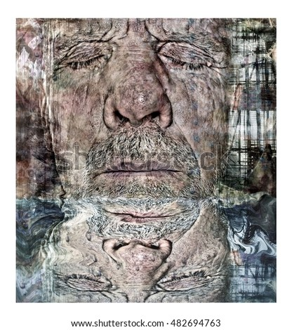 Dream State Watery Reflecting Man Collage Portrait