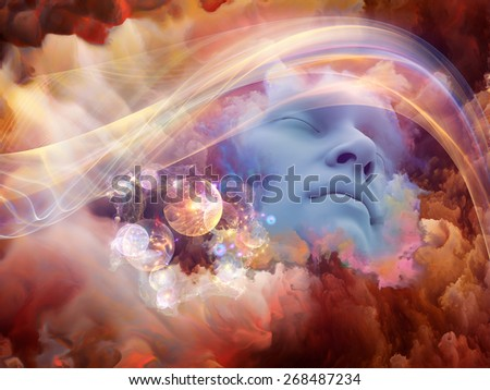 Dream Wave series. Abstract design made of human face and colorful fractal clouds on the subject of dreams, mind, spirituality, imagination and inner world - stock photo