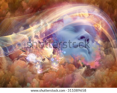 Dream Wave series. Design composed of human face and colorful fractal clouds as a metaphor on the subject of dreams, mind, spirituality, imagination and inner world - stock photo